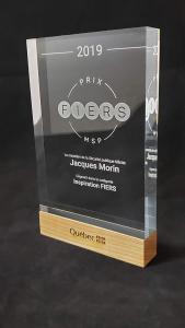 Trophée plaque en bois et acrylique