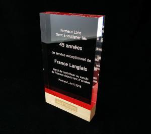 Trophée plaque acrylique et bois